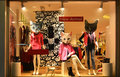 Fashion boutique display window with mannequins store sale window front of shop window in windows the cat s heads are just Stock Images
