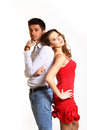 Fashion boy and girl isolated on white background Royalty Free Stock Image