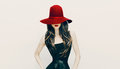 Fashion brunette lady in red hat and red lips on white backgroun Royalty Free Stock Photo