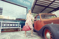 Fashion with car style in dress old school in vintage Stock Images
