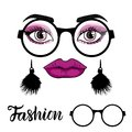 Vector Fashion card with a set of illustrations: girl face with make up and trend round sunglasses isolated on white Royalty Free Stock Photo