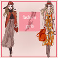 Fashion cartoon model girls Royalty Free Stock Photo
