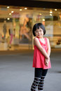 Fashion child little asian girl in red dress Stock Photography
