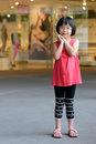 Fashion child little asian girl in red dress Royalty Free Stock Images