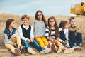 Fashion children in autumn field Royalty Free Stock Photo