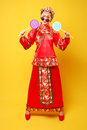 Fashion chinese style —— human figures photography belle wearing ancient costume on yellow background Stock Photos