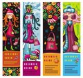 Fashion Christmas girls banners Royalty Free Stock Photo
