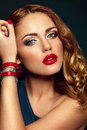 Fashion closeup sexy stylish blond with red lips high look glamor portrait of beautiful caucasian young woman model bright makeup Stock Image