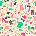 Fashion and clothes accessories seamless pattern vector illustration Royalty Free Stock Photo