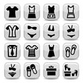 Fashion clothes icons elegant set created for mobile web and applications Royalty Free Stock Photos