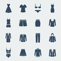 Fashion clothes for woman isolated on white vector flat icons Royalty Free Stock Photography