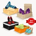 Fashion collection of woman s shoes classic ankle boots sandals and ballet flats with gift boxes isolated vector illustration Royalty Free Stock Photos