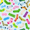 Fashion colorful socks vector seamless pattern. Bright yellow, green and pink dotted and stripped socks with geometric