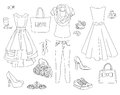 Fashion coloring book set. Royalty Free Stock Photo