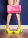 Fashion concept girl wearing high heels and holding a bag Stock Photos