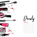 Fashion Cosmetics background with make up objects: lipstick, powder, brush. With place for your text. Glamour women