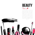 Fashion Cosmetics background with make up objects. With place for your text. Glamour women style