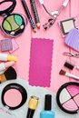 Fashion cosmetics composition, top view. Royalty Free Stock Photo