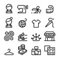 Fashion design , tailor , Dressmaker , sewing icons set in thin