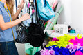 Fashion designer or tailor working in studio freelance with made handbags shop Stock Photography