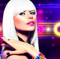 Fashion disco party girl portrait purple makeup and white hair Royalty Free Stock Image