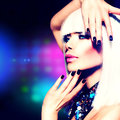 Fashion disco party girl portrait purple makeup and white hair Stock Photos