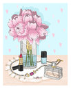 Fashion essentials. Background with jewellery, perfume, make up Royalty Free Stock Photo