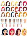 Fashion female avatars hairstyles eyes mouths head for multiple combinations in this image some previews vector file isolated Royalty Free Stock Photography