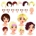 Fashion female avatars hairstyles eyes mouths head multiple combinations image some previews vector file isolated objects Stock Images