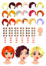 Fashion female avatars hairstyles eyes mouths head multiple combinations image some previews vector file isolated objects Royalty Free Stock Photo