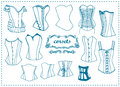 Fashion female corsets vector file outline blue color Royalty Free Stock Image