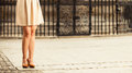Fashion. Female legs in stylish shoes outdoor Royalty Free Stock Photo
