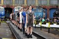 Fashion female models row cfr railway depot sibiu romania june feeric days day designers having their presentation in an Royalty Free Stock Image