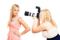 Fashion female photographer and model Stock Photos