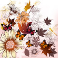 Fashion floral background with flowers and leafs elegant hand drawn vector butterflies Stock Image