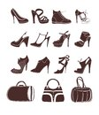 Fashion footwear and bags vector set Stock Image