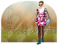 Fashion girl on background of old city vector illustration Royalty Free Stock Images