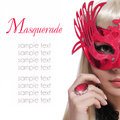 Fashion girl with carnival mask and red ring over white background halloween masquerade Royalty Free Stock Images