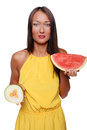 Fashion girl with fruit Stock Images