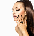 Fashion girl with long hair beauty trendy caviar black manicure Royalty Free Stock Image