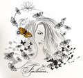 Fashion girl with long hair and butterflies vector portrait of beautiful young hear flying Stock Photo
