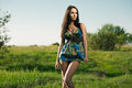 Fashion girl outdoors Stock Image