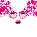 Fashion girl in pink glasses abstract with butterflies and patterns Royalty Free Stock Images