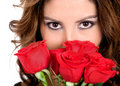 Fashion girl with roses Royalty Free Stock Photos
