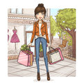 Fashion girl at shopping Royalty Free Stock Image