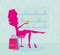 Fashion girl shopping in shoe shop illustration Royalty Free Stock Image