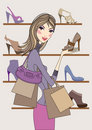 Fashion girl shopping in shoe shop, vector Royalty Free Stock Photo