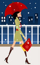 Fashion girl shopping in winter Royalty Free Stock Photos