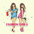 Fashion girl in sketch style prety vector illustration Stock Image