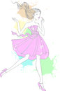 Fashion girl vector drawing of a young in pastel colors Stock Image